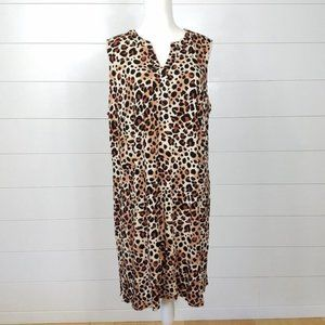 NY Collection Dress Plus Size 3X Leopard Stretch